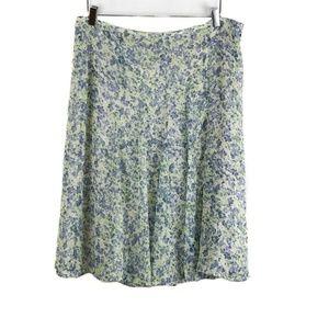 Talbots Green Blue Floral A-Line Skirt 14